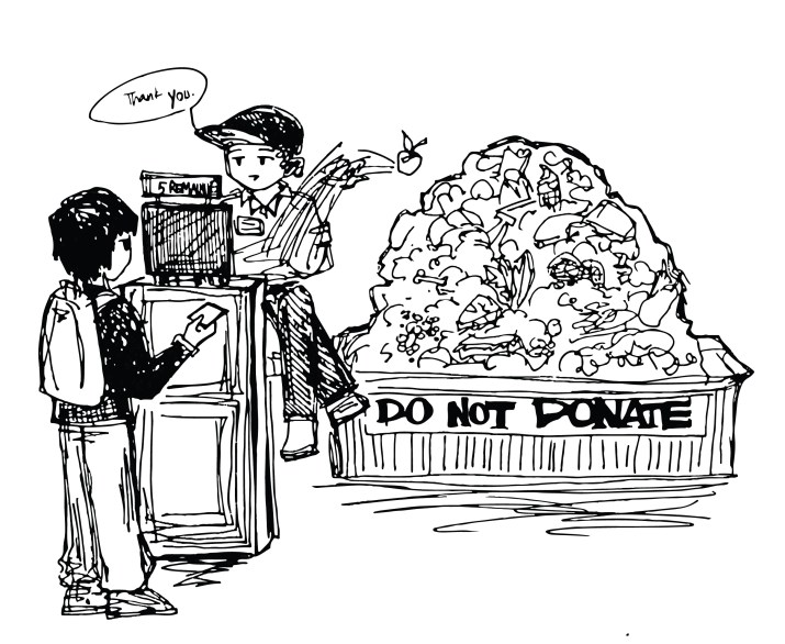 "A graphic of a student with five remaining meal swipes swiping into a dining hall. Behind the counter is a bin with a large pile of food, with the words ""do not donate"" at the bottom."