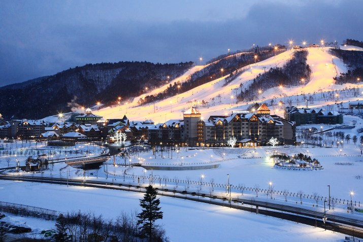 The snowy town of Pyeongchang with tall buildings