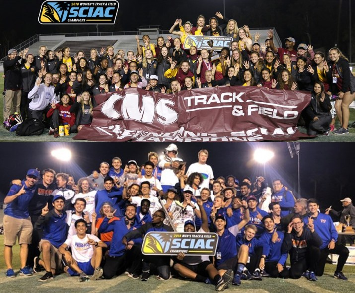Two group pictures of track teams