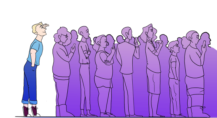 A graphic of a person enjoying their time as they wait in line.