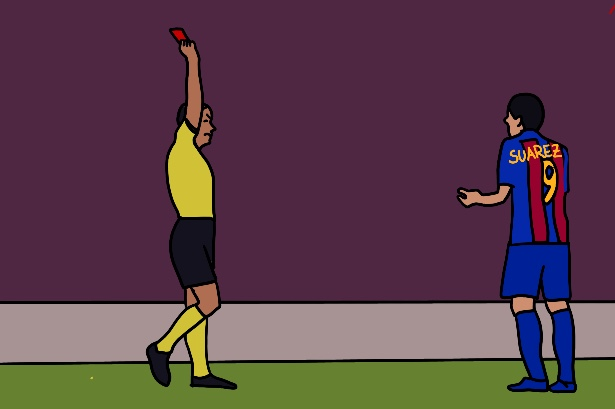 Illustrated graphic of a referee in a yellow shirt giving Luis Suarez, who is wearing a Barcelona jersey, a red card, while he looks at him and shrugs.