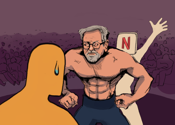 A comic depicting Steven Spielberg standing between an Academy Awards Oscar statue and a human figure labeled with the Netflix logo.