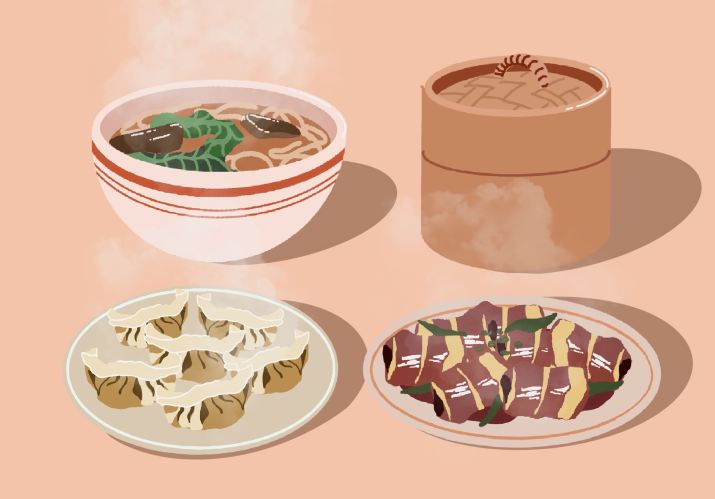 Graphic of four Chinese dishes. Clockwise from top left on a beige background is a bowl of beef noodle soup, a dim sum basket, a plate of jianbing (not mentioned in the article), and a plate of dumplings.