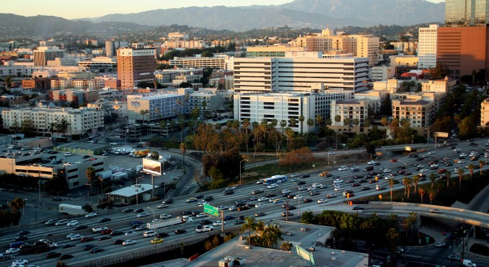 Congested freeway in LA, lots of traffic and cars