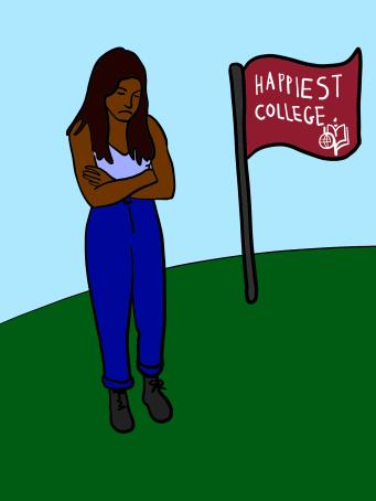 upset woman near red flag
