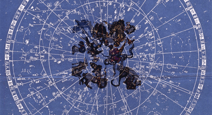 An old map of the stars in the night sky with astrological symbols imposed on it.