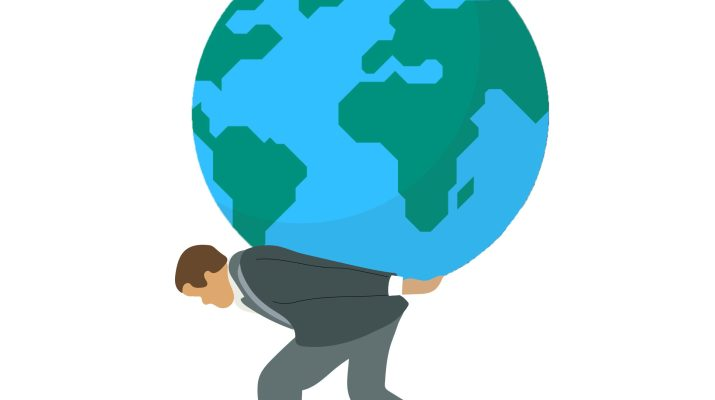 A graphic of a man in a suit carrying the Earth on his back.