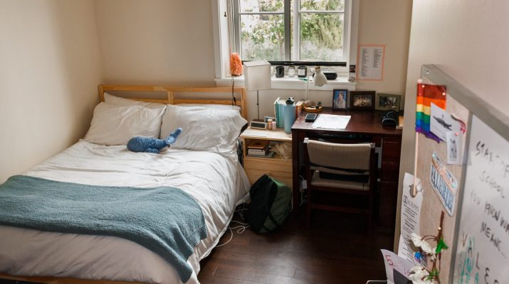 Pictured is the interior of a students college dorm. A small window looks out on some foliage. There is a double bed in the left corner of the room; it has a white duvet, white pillows, a blue blanket and a blue stuffed animal whale on it. In the right corner of the room is a dark mahogany desk and chair. The room has white walls and a dark mahogany wood floor.