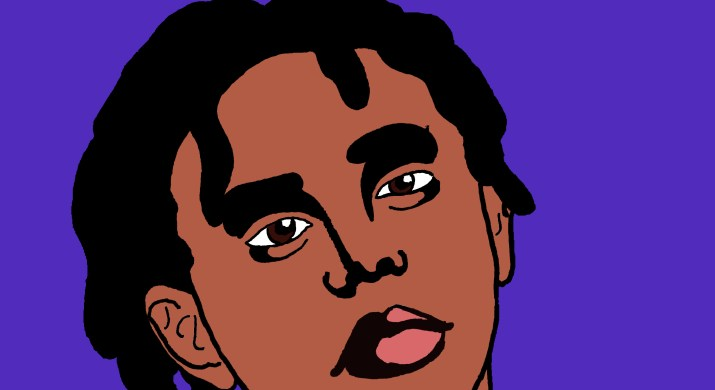 A black and white depiction of YBN Cordae, who is wearing a black shirt and has short dreadlocks.