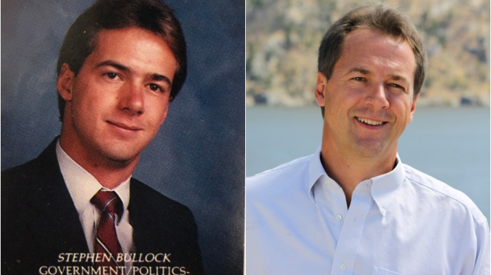 A white man in college and then now