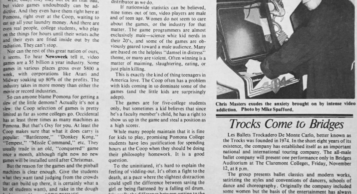 """A picture of the 1982 TSL article """"Video Games Captivate Players."""""""
