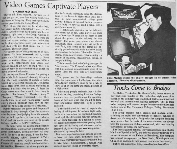 "A picture of the 1982 TSL article ""Video Games Captivate Players."""