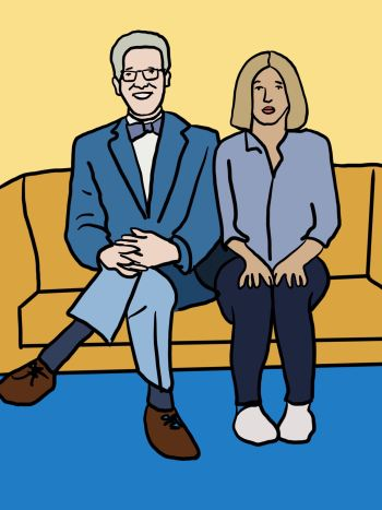 """A graphic of """"The Good Place"""" characters Michael and Eleanor sitting side by side on a mustard yellow couch. Michael (left) wears glasses, a dark blue blazer, a bowtie, light blue pants and brown shoes. Eleanor wears a blue shirt, navy pants and white shoes."""