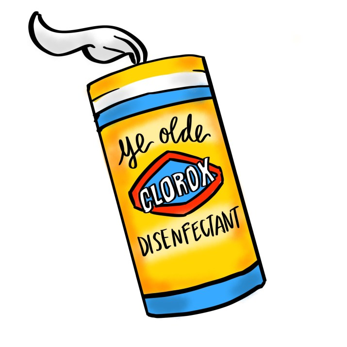"A yellow clorox box with a wipe sticking out has the words ""ye olde disenfectant"" on it"