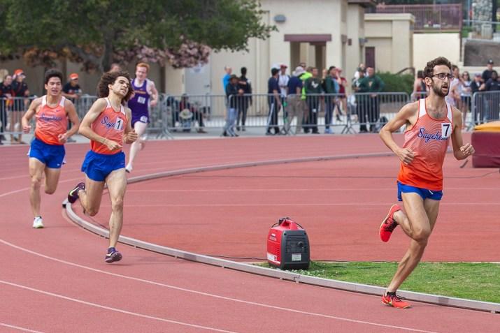 Three Sagehens run really fast, including editor-in-chief Kellen Browning.