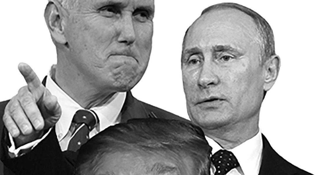 President Donald Trump, Mike Pence and Russian leader Vladimir Putin
