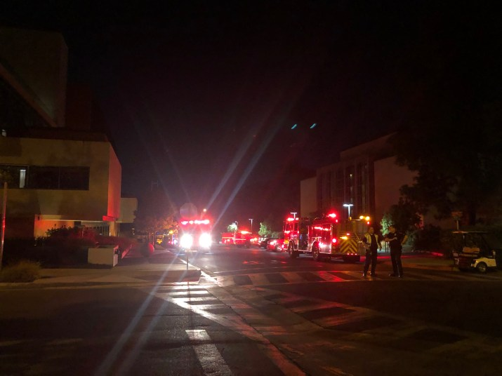 Firefighters responding to a fire at CMC