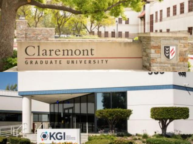 Two building signs -- one for Claremont Graduate University and one for Keck Graduate Institute