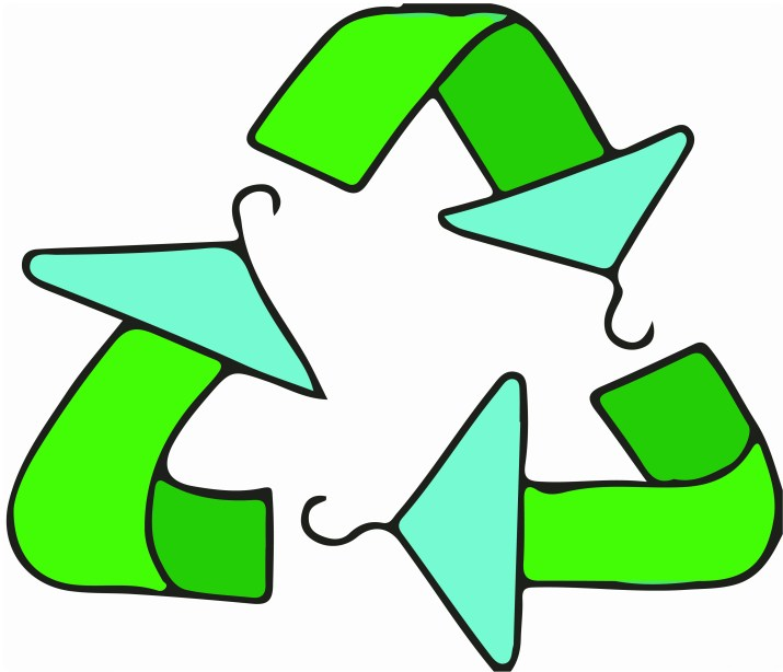 A triangular green recycling icon with the points of the arrows doubling as clothes hangers.