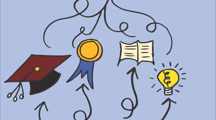 A flow chart depicting what goes into a resumé: a graduation cap (education), a medal (awards), a book (knowledge) and a lightbulb (ideas).