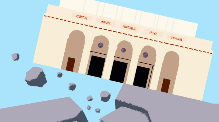 A cartoon depiction of Pomona's Bridges Auditorium tilted at a 45-degree angle on cracked, fissuring ground. Boulders and rocks are distributed around the image.