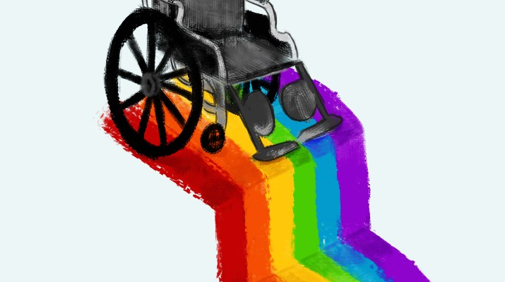 A wheelchair sits at the edge of a rainbow staircase