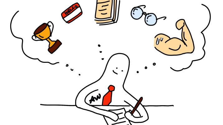 A cartoon person with a red tie writes a cover letter while thinking about different aspects of a cover letter (strengths, knowledge, awards, etc.).