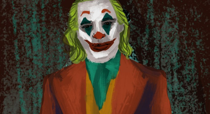 """The titular character from """"Joker"""" as played by Joaquin Phoenix. He is clad in a clashing red, orange and green shirt. His hair is green and he has on his signature white clown makeup with green triangles below and above the eyes and the classic painted red smile."""