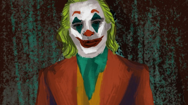 "The titular character from ""Joker"" as played by Joaquin Phoenix. He is clad in a clashing red, orange and green shirt. His hair is green and he has on his signature white clown makeup with green triangles below and above the eyes and the classic painted red smile."