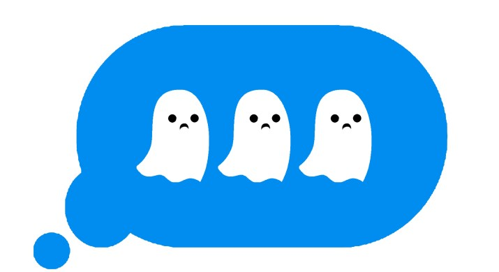 """An iMessage """"typing"""" bubble with the three dots replaced by sad ghosts."""