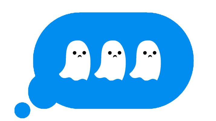 "An iMessage ""typing"" bubble with the three dots replaced by sad ghosts."