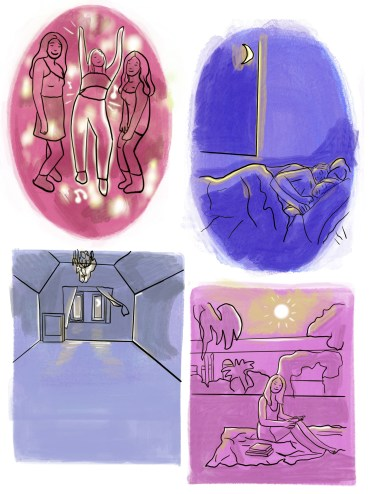A four-sectioned image with a pink, purple, and blue color palette. The top left section depicts 3 women dancing in a club, while the top right shows two people sleeping in bed at night. The bottom left section depicts a dark, empty room with only a chandelier and a singular window. The bottom right section depicts a girl sitting on a lawn with books piled next to her.