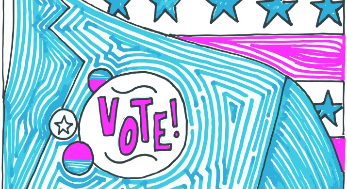"""A close-up of a blue suit lapel with a """"vote!"""" button pinned to it. The background is a stylized American flag design with pink stripes and blue and white stars."""