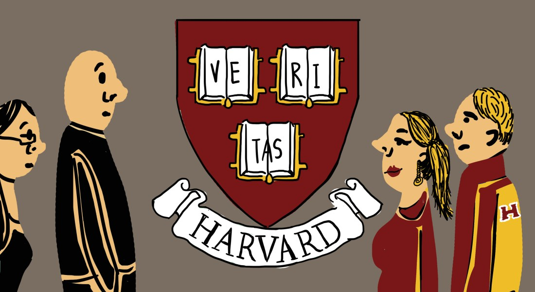 The Harvard logo looms in the background while a mother and son clad in Harvard gear smile mockingly at two others dressed in black