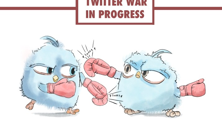 """Two blue birds resembling the Twitter logo punch each other with pink boxing gloves. A sign with the words """"Twitter War In progress"""" is displayed above the birds."""