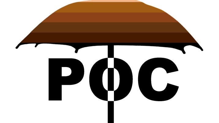 "An umbrella colored with a gradient of varying skin-tone shades above the acronym ""POC,"" bisecting the O."