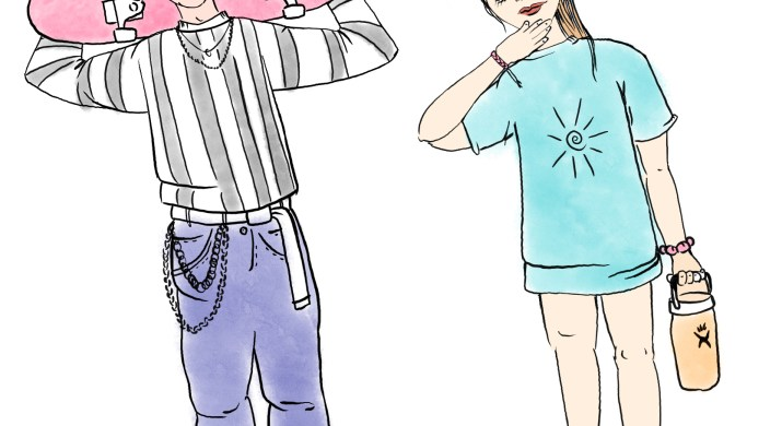 A boy holding a pink skateboard on his shoulders stands next to a girl holding a Hydroflask water bottle.