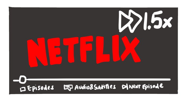 """Red Netflix logo with the text """"1.5x"""" and the 2-triangle fast-forward symbol in the top right."""