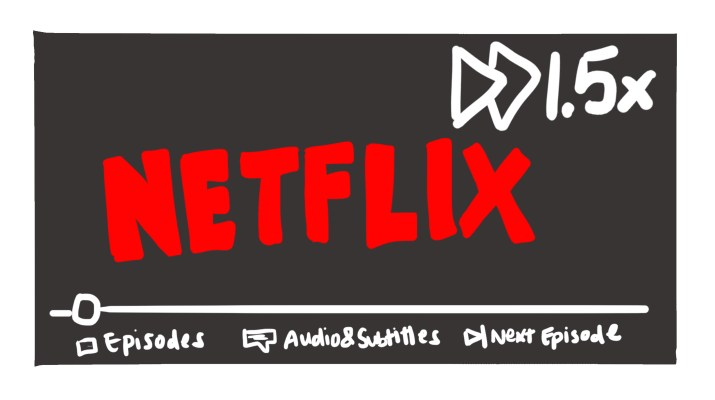 "Red Netflix logo with the text ""1.5x"" and the 2-triangle fast-forward symbol in the top right."