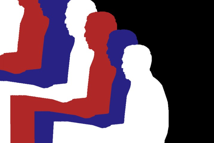 The repeating profile silhouette of former mayor Michael Bloomberg, with the color alternating in red, white, and blue.