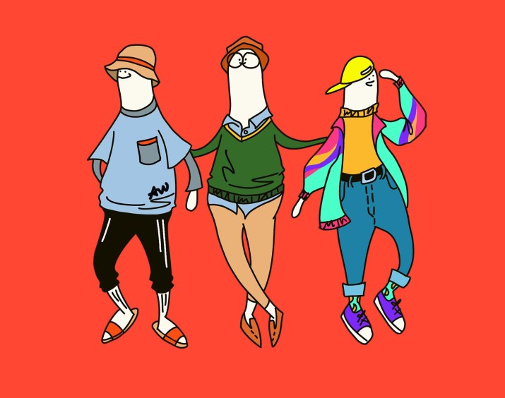 Three figures wearing wildly different styles of colorful clothes in front of a light red background