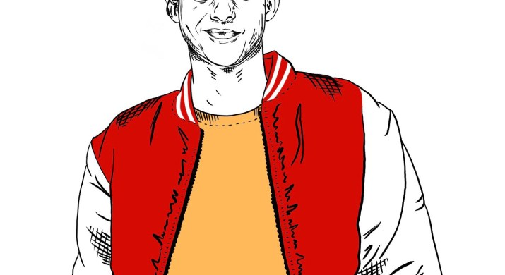 Black and white drawing of a boy in a letterman jacket, the main character o High School Musical the Musical: The Series. Only the letterman jacket is colored in red, while the boy's shirt is a pale yellow.