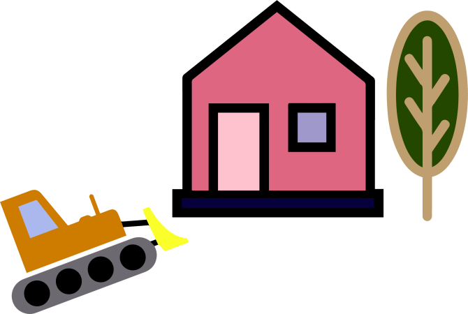 A simple drawing of a house with a tree next to it. The house has pink paint with a pale pink door and a blue window. Next to the house is a bulldozer that is advancing on the house.