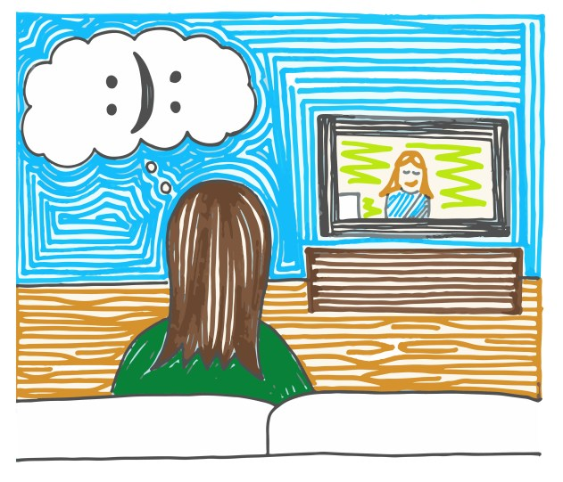 The back of a figure with long hair sits on a couch facing a television that displays a smiling figure. The person on the couch has a cloud-shaped thinking bubble emerging from their head that contains a colon, a closed parenthesis and another colon in order to create a smiley face that can be read from one side as sad and from one side as happy, indicating a sense of internal conflict.