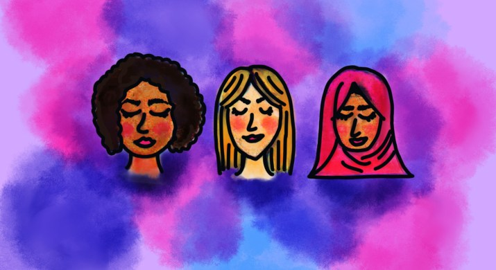 There are three women in a row, one black, one white, and one wearing a hijab.