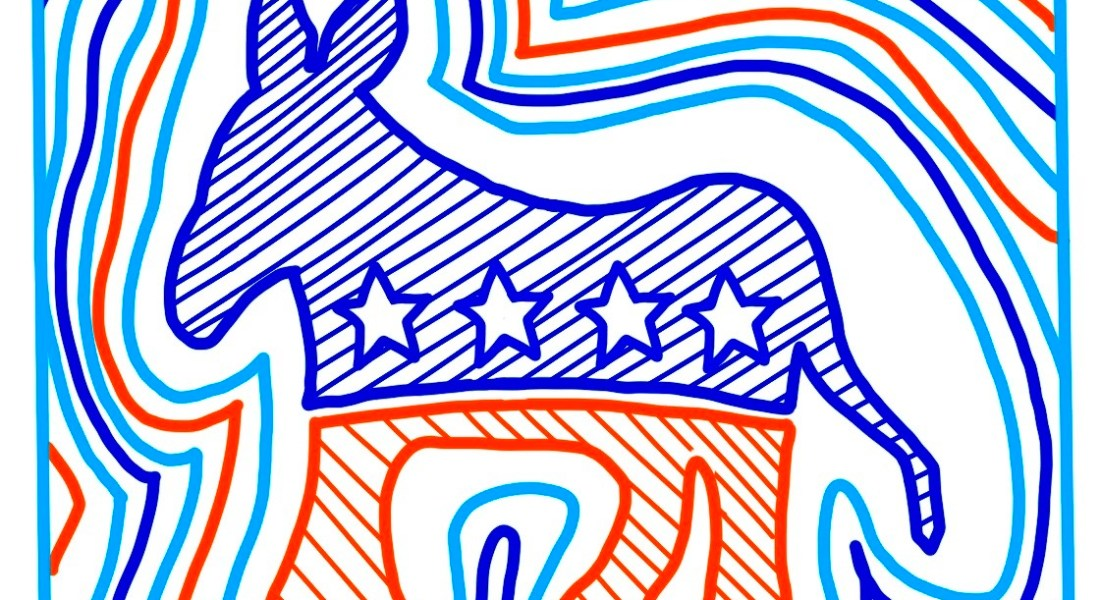A Democratic symbol of a donkey adorned with four stars, in blue, white, and red stripes.