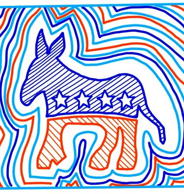 A Democratic symbol of a donkey adorned with 4 stars, in blue, white, and red stripes.