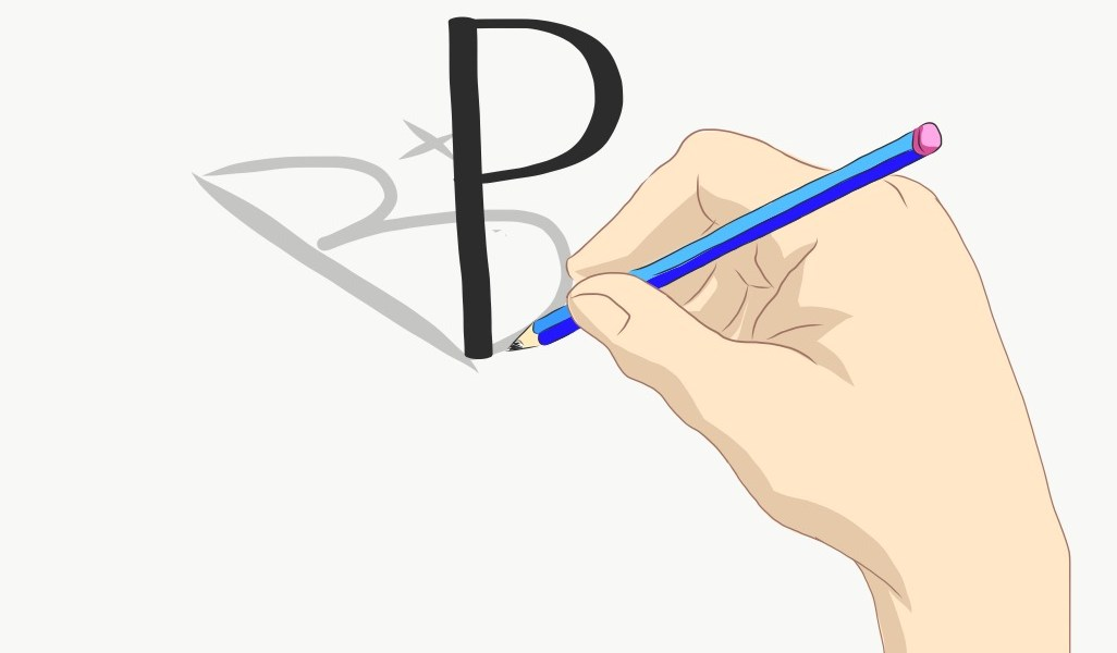 "A hand writes a ""B+"" on a piece of paper with a pencil, but it shows up as a ""P,"" indicating ""pass."""