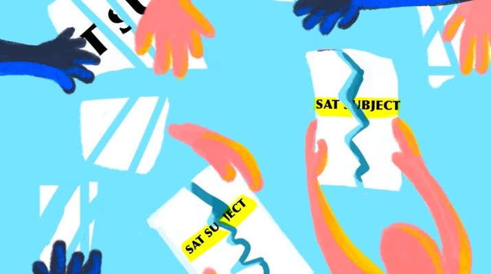 Many pink and blue cartoon hands reach out to torn SAT Subject tests