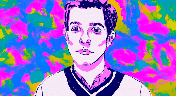 Portrait of American stand-up comedian John Mulaney against blue, pink, and yellow background.